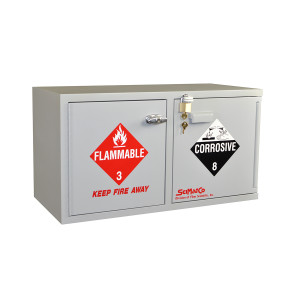 "Non-Metallic Wood Flammable Cabinet, 31"" x 17"" Mini Stak-a-Cab Combination Acid/Flammables, Self-Closing"