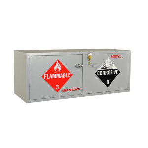 """Wood Acid/Flammables Cabinet, 47"""" x 18"""" Stak-a-Cab Combo, Self-Closing"""