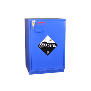 "Non-Metallic Wood Acid Cabinet, 23"" Partially Lined Under-the-Counter Right Hinge Corrosive Cabinet, Blue"