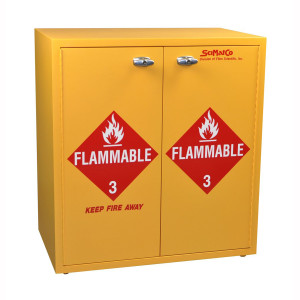 "Non-Metallic Wood Flammable Cabinet, 30"" x 32"" Jumbo Stacking Flammables Cabinet"