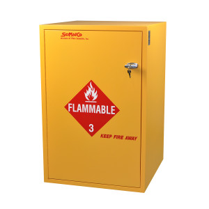 "Non-Metallic Wood Flammable Cabinet, 23"" x 36"" 30 gal, Self-Closing"