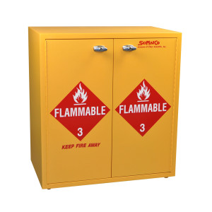 "Non-Metallic Wood Flammable Cabinet, 30"" x 32"" Jumbo Stacking, Self-Closing"