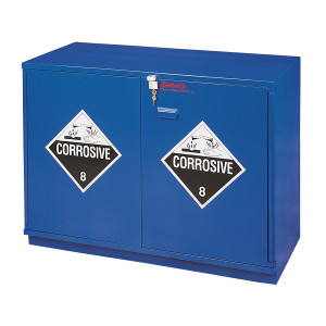 "Non-Metallic Wood Acid Cabinet, 29"" Partially Lined Under-the-Counter Corrosive Cabinet, Blue"
