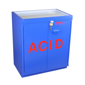 "Non-Metallic Wood Acid Cabinet, 31"" x 36"" Fully Lined Floor Acid Cabinet with Top Tray"