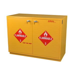 "Non-Metallic Wood Flammable Cabinet, 35"" Under-the-Counter Flammables Cabinet, Yellow"