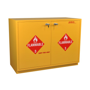 "Non-Metallic Wood Flammable Cabinet, 35"" Under-the-Counter, Self-Closing"
