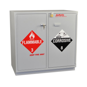 "Non-Metallic Wood Flammable Cabinet, 35"" Partially Lined Under-the-Counter Combination Acid/Flammables"