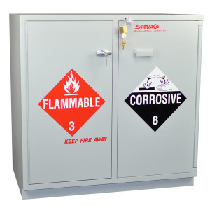 "Non-Metallic Wood Flammable Cabinet, 35"" Fully Lined Under-the-Counter Combination Acid/Flammables, Self-Closing"