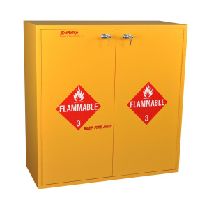 "Non-Metallic Wood Flammable Cabinet, 43"" x 44"" 54-Gallon, Self-Closing"