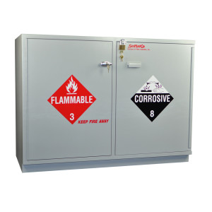 "Non-Metallic Wood Flammable Cabinet, 47"" Fully Lined Under-the-Counter Combination Acid/Flammables"