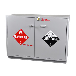 "Non-Metallic Wood Flammable Cabinet, 47"" Fully Lined Under-the-Counter Combination Acid/Flammables, Self-Closing"