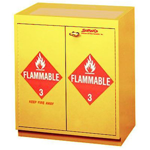 "Non-Metallic Wood Flammable Cabinet, 31"" x 36"" 32 gal Floor Flammable Cabinet with Top Tray"