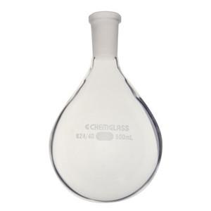 Chemglass Glass Recovery Flask, Heavy Wall Single Neck, 24/25 OJ, 200mL
