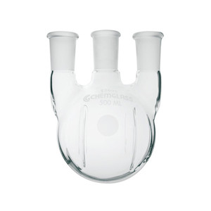 Chemglass CG-1525-25 12000mL Heavy Wall 3 Neck Round Bottom Flask with Vertical