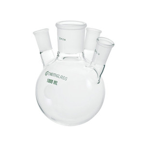 Chemglass 12000mL Heavy Wall 4 Neck Round Bottom Flask with Angled 20°