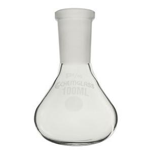 Chemglass Glass Apollo Flask, Low Profile, 14/20 OJ, Heavy Wall, 50mL