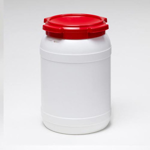 Small Shipping Drum, 20 L (5.3 gal), White with Red Lid, case/4