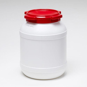 Small Shipping Drum, 26 L (6.9 gal), White with Red Lid, case/3