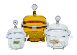 Lab Companion Amber Polycarbonate Round Style Vacuum Desiccator