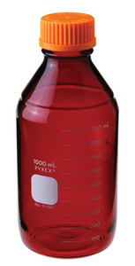 Chemglass Pyrex Media Bottle, 10,000mL, Low Actinic, GL45 Cap
