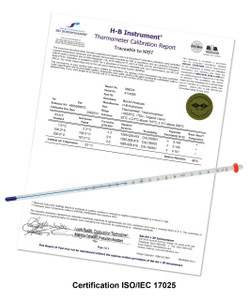 H-B Durac Plus Calibrated 1 To 61C 76mm Immersion Organic Liquid-in-glass Fill Thermometer