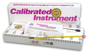 calibrated -20-225C total immersion liquid-in-glass thermometer