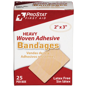 "Heavy Duty Woven Adhesive Bandages, 2"" x 3"", 24 boxes of 25"