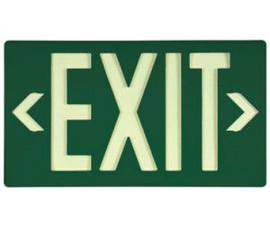 """Exit Sign, Exit Sign, Glow (Yellow) Green with Bracket, 15-3/8"""" x 8-3/4"""""""