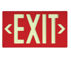 """Exit Sign, Exit Sign, Glow (Yellow) on Red, with Bracket, 15-3/8"""" x 8-3/4"""""""