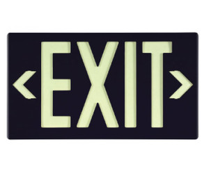 """Exit Sign, Exit Sign, Glow (Yellow) Black with Bracket, 15-3/8"""" x 8-3/4"""""""