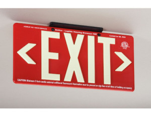 """Exit Sign, 100 Ft Visible Graphic, Glow (Yellow) Red with Bracket, 15-3/8"""" x 8-3/4"""""""