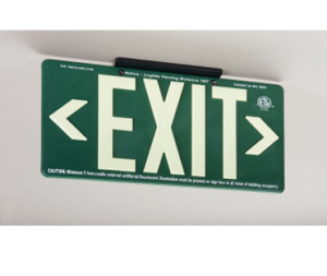 """Exit Sign, 100 Ft Visible Graphic, Glow (Yellow) Green with Bracket, 15-3/8"""" x 8-3/4"""""""