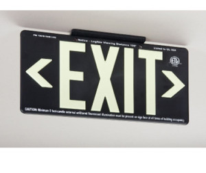 """Exit Sign, 100 Ft Visible Graphic, Glow (Yellow) Black with Bracket, 15-3/8"""" x 8-3/4"""""""