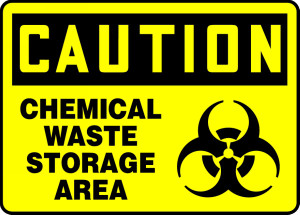 "OSHA CAUTION Sign: Chemical Waste Storage Area, 10 x 14"", Pack/10"