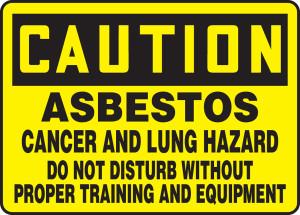 "OSHA CAUTION Sign: Asbestos - Cancer, Lung Hazard, 10 x 14"", Pack/10"