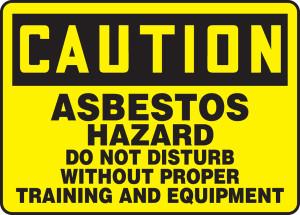 "OSHA CAUTION Sign: Asbestos Hazard - Do Not Disturb, 10 x 14"", Pack/10"