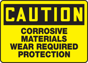 """OSHA CAUTION Sign: Corrosive Materials, Wear Required, 10 x 14"""", Pack/10"""