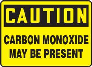 "OSHA CAUTION Sign: Carbon Monoxide May Be Present, 10 x 14"", Pack/10"