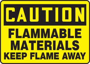 "OSHA CAUTION Sign: Flammables, Keep Flame Away, 10 x 14"", Pack/10"