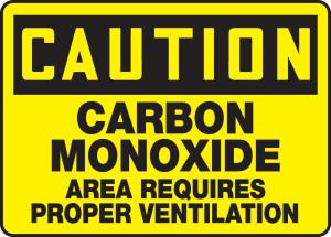 """OSHA CAUTION Sign: Carbon Monoxide, Requires Ventilation, 10 x 14"""", Pack/10"""