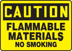 "OSHA CAUTION Sign: Flammable Materials - No Smoking, 10 x 14"", Pack/10"