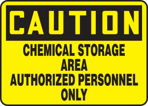 """OSHA CAUTION Sign: Chemical Storage Area Auth Only, 10 x 14"""", Pack/10"""