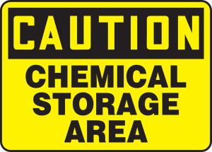 "OSHA Caution Safety Sign - Chemical Storage Area, 10 x 14"", Pack/10"