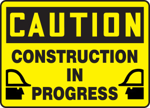 "OSHA CAUTION Sign: Construction In Progress, 10 x 14"", Pack/10"