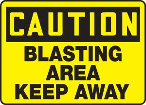"OSHA CAUTION Sign: Blasting Area - Keep Away, 10 x 14"", Pack/10"