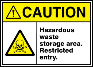"""ANSI ISO Safety Sign, CAUTION: Hazardous Waste Storage, Restricted Entry, 10 x 14"""", Pack/10"""