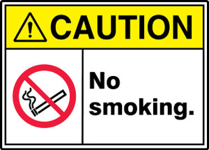 """ANSI ISO Safety Sign - CAUTION: No Smoking, 10 x 14"""", Pack/10"""