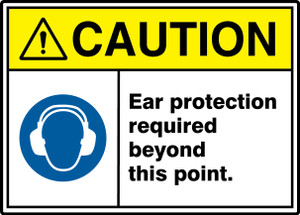 """ANSI ISO Safety Sign, CAUTION: Ear Protection Required, 10 x 14"""", Pack/10"""
