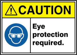 """ANSI ISO Safety Sign, CAUTION: Eye Protection Required, 10 x 14"""", Pack/10"""