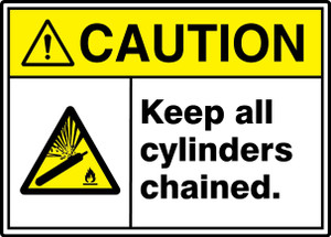 """ANSI ISO Safety Sign, CAUTION: Keep All Cylinders Chained, 10 x 14"""", Pack/10"""